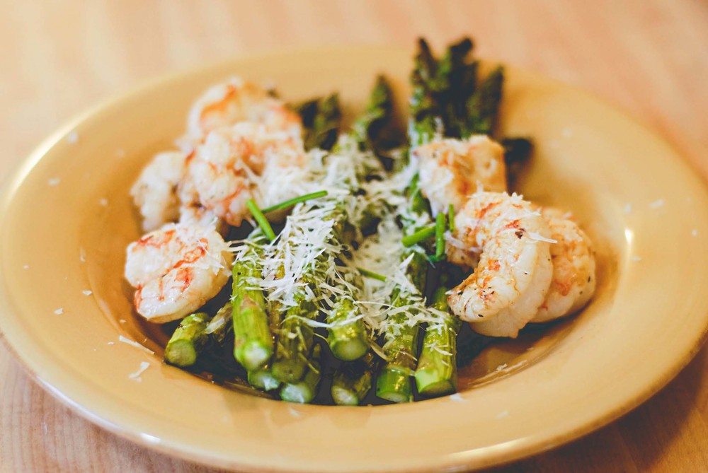 Asparagus with Pesto and Grilled Shrimp by Foodie With a Life