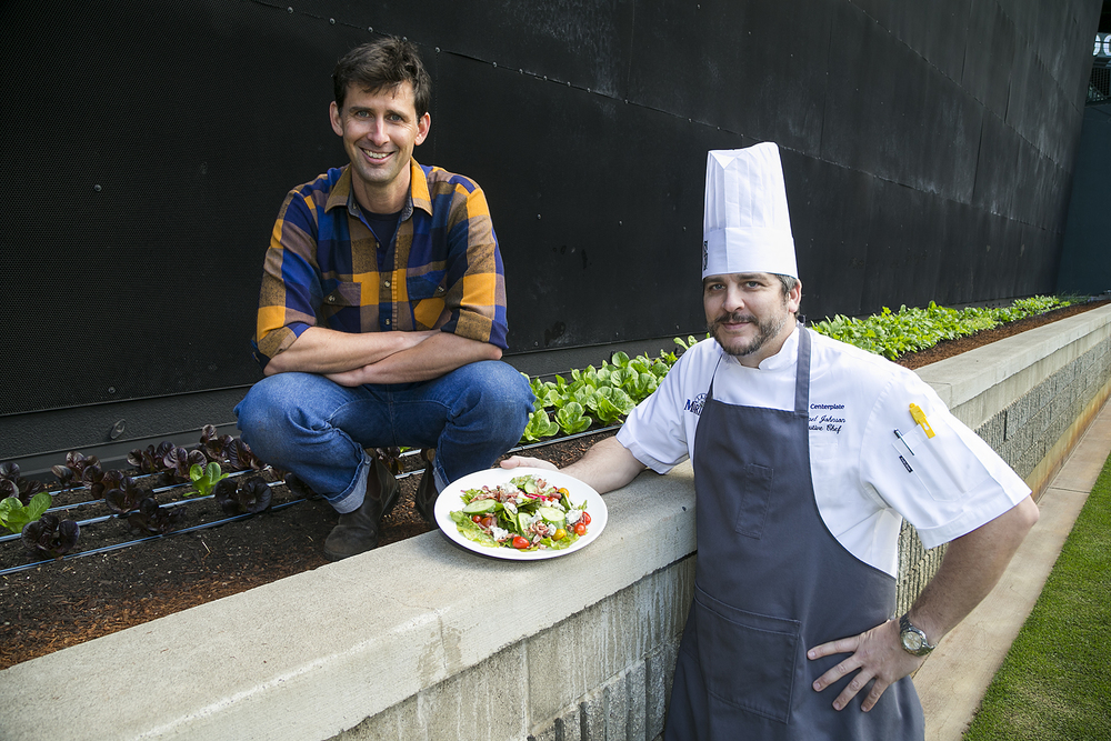 Colin McCrate, Founder of Seattle Urban Farm Co. and Safeco Field Executive Chef Michael Johnson