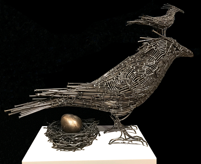 Crow, Little Bird, Egg & Nest Sculpture by John Bisbee, 2019