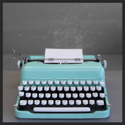 mint green typewriter