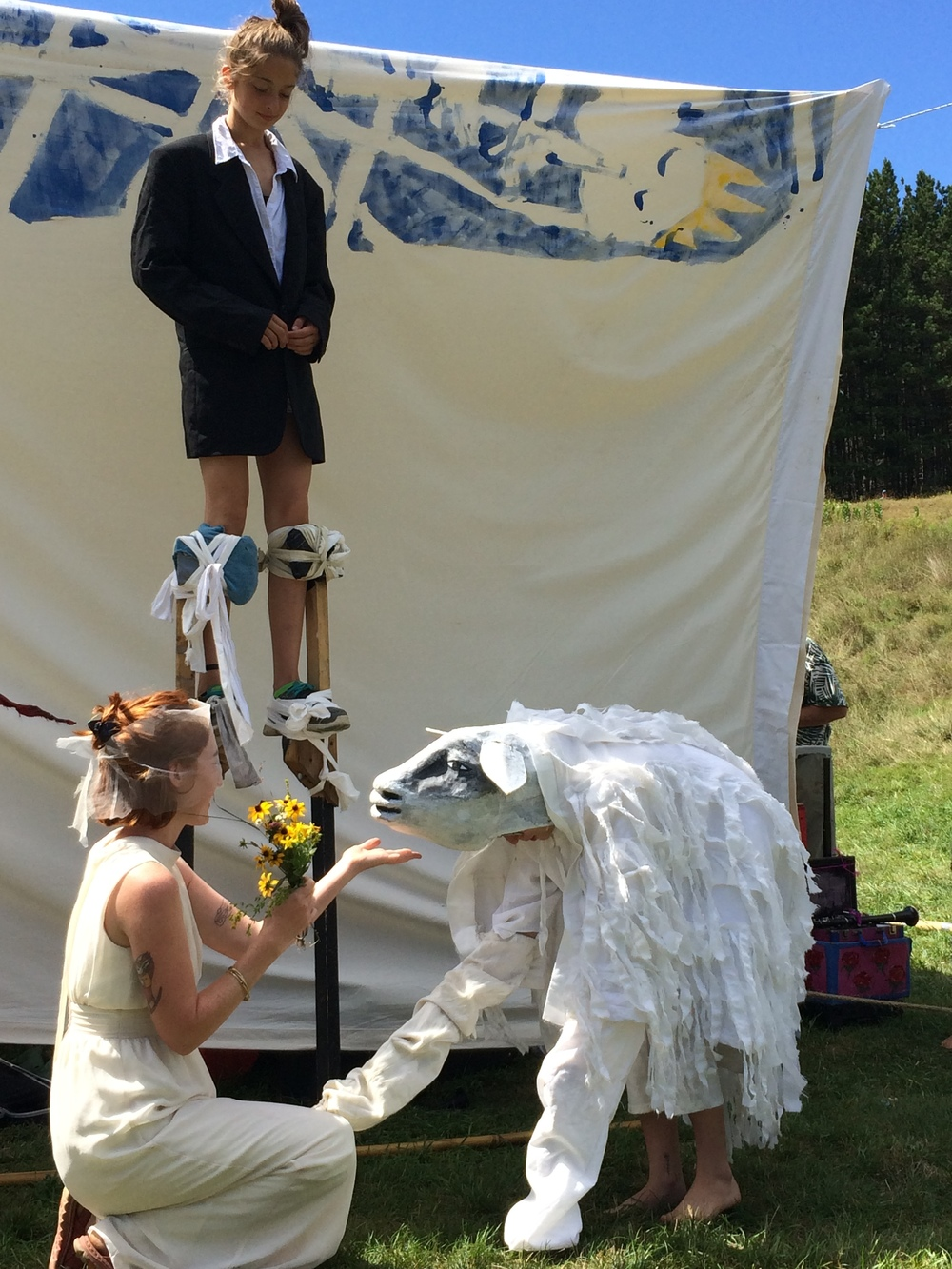 The shepherdess weds her sheep in a miniature pastoral drama, courtesy of Bread and Puppet Theater.