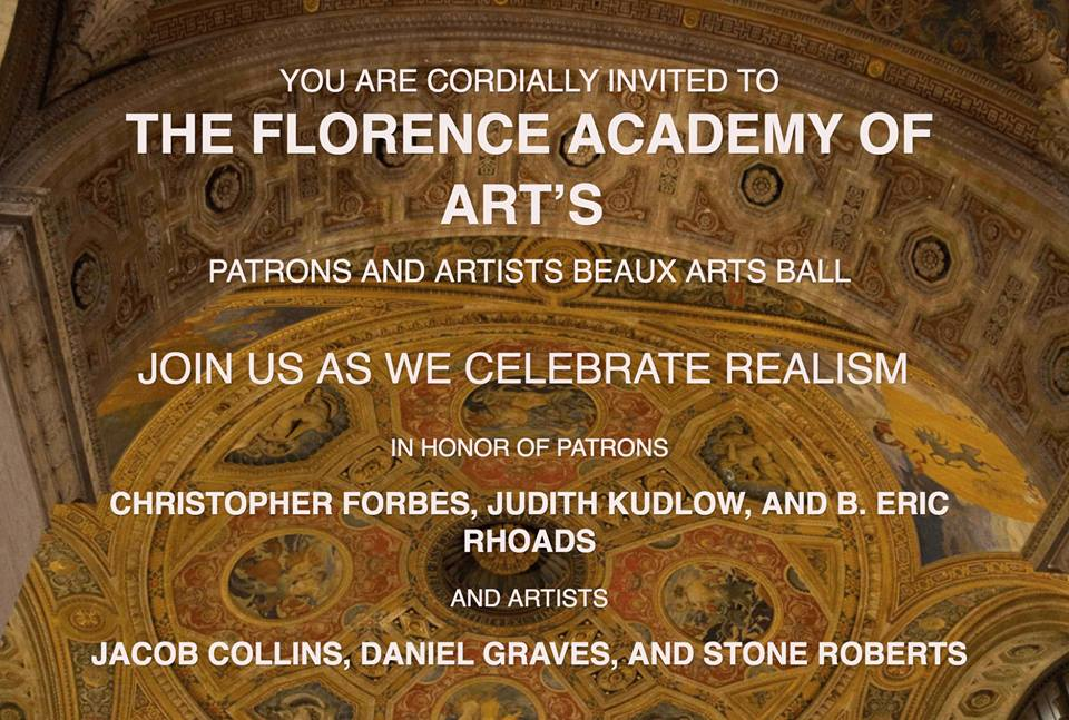 Invitation to Florence Academy's Beaux Arts Ball where Eric was honored.