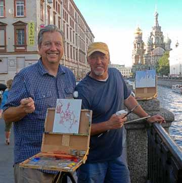 Eric and Scott Christensen painting in Russia