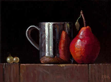 Still Life with Silver Cup, Red Pear, and Two Muscat Grapes, by Abbey Ryan
