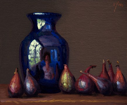 Self Portrait in a Blue Vase and Eight Figs, by Abbey Ryan