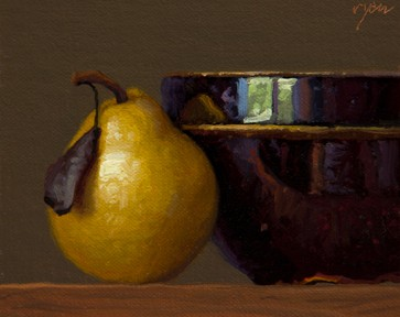 Still Life with Bowl and Pear with Leaf,  by Abbey Ryan