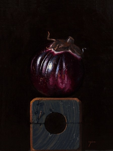 Sicilian Eggplant on a Wood Block, by Abbey Ryan