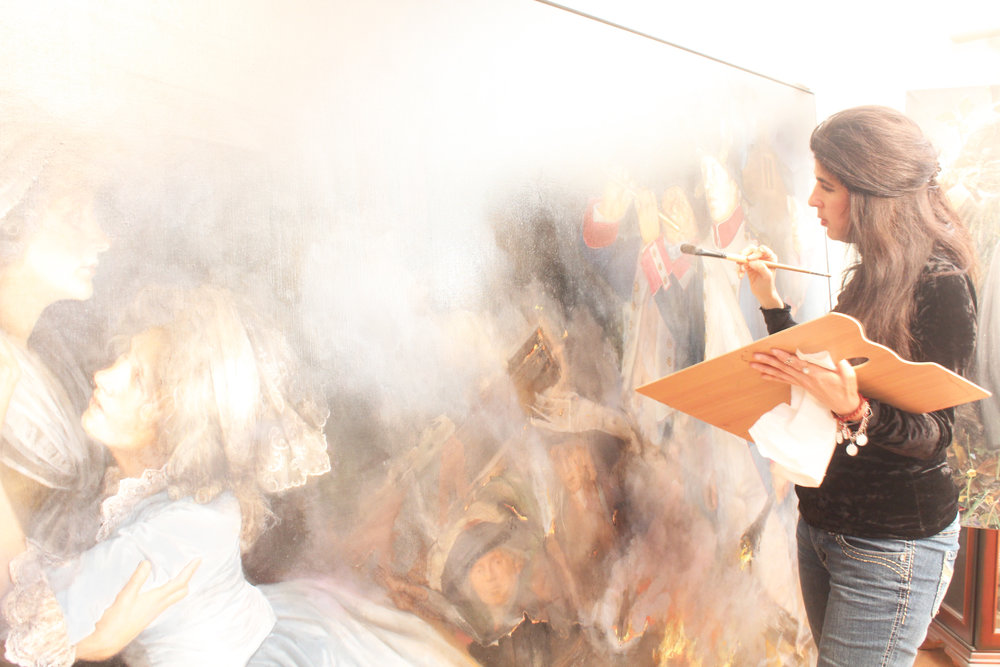 Gabriela painting The Burning of Adelaide Labille Guiard's Masterpiece