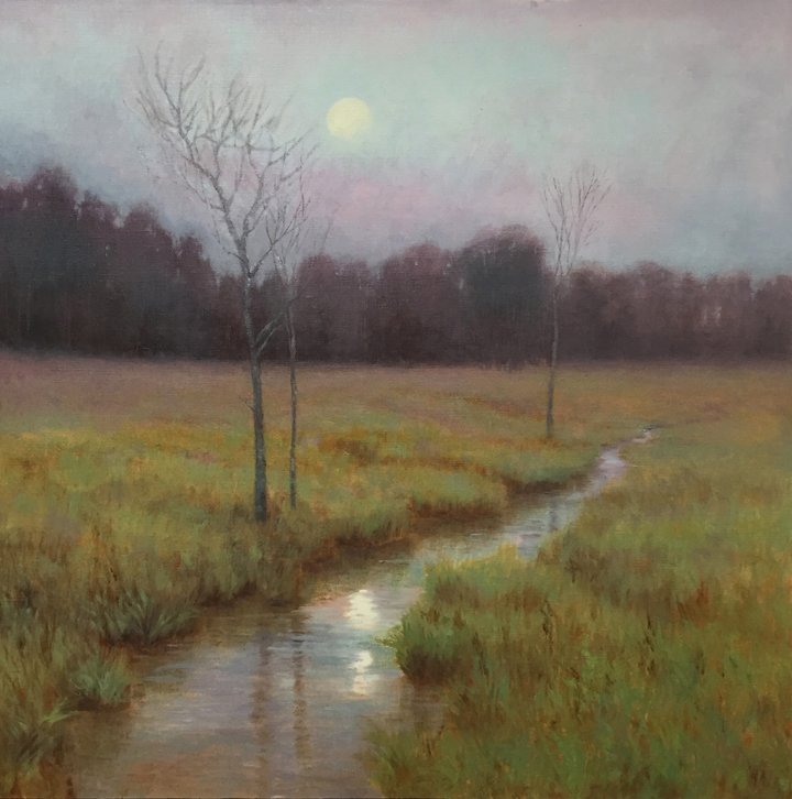 Spring Moonrise, 24x24, by Deborah Paris