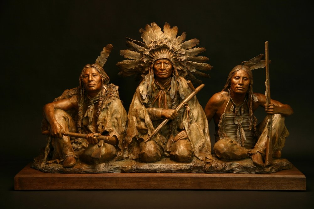 1876, Gall - Sitting Bull - Crazy Horse by John Coleman, Bronze