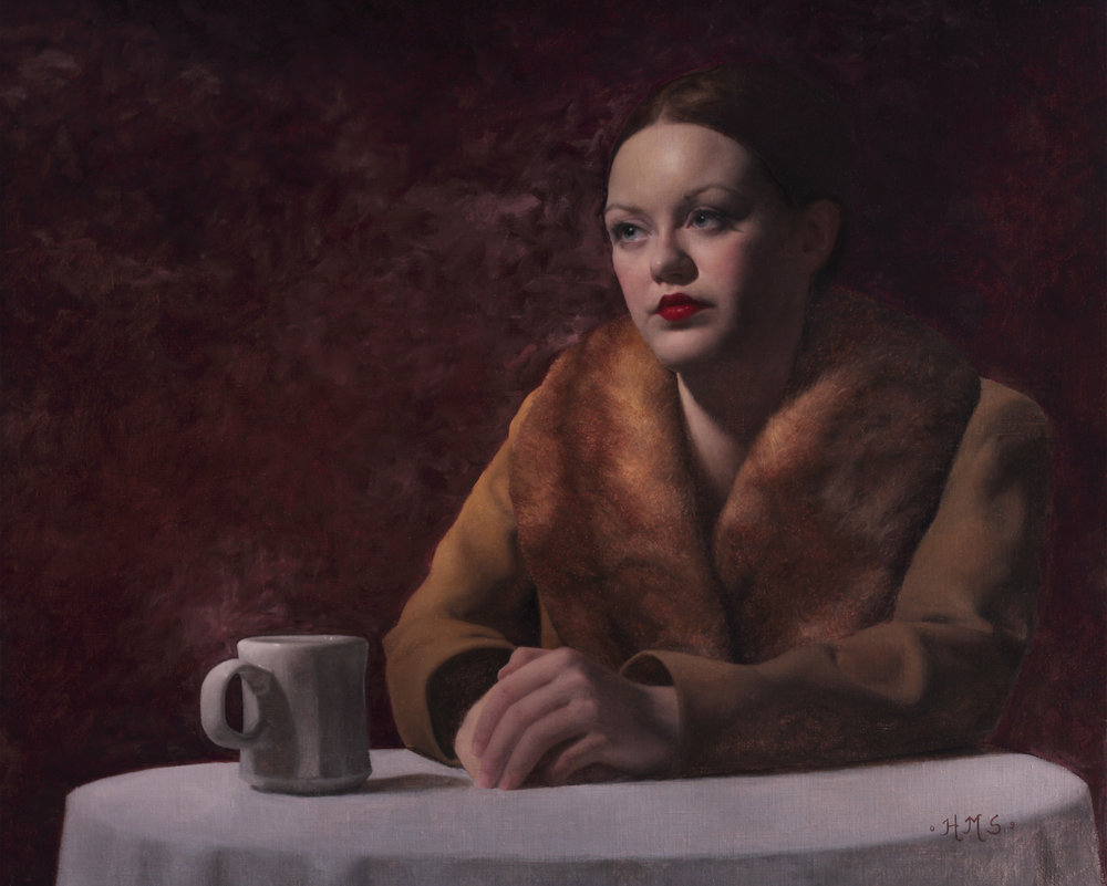 Girl in a Cafe, or Hopper's Closer Look, 21 x 26, 2009