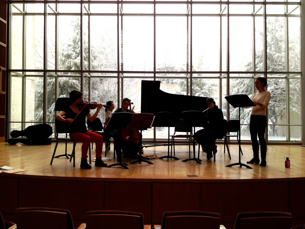 Blue Streak Ensemble rehearsing in CIM's Mixon Hall on a snowy day