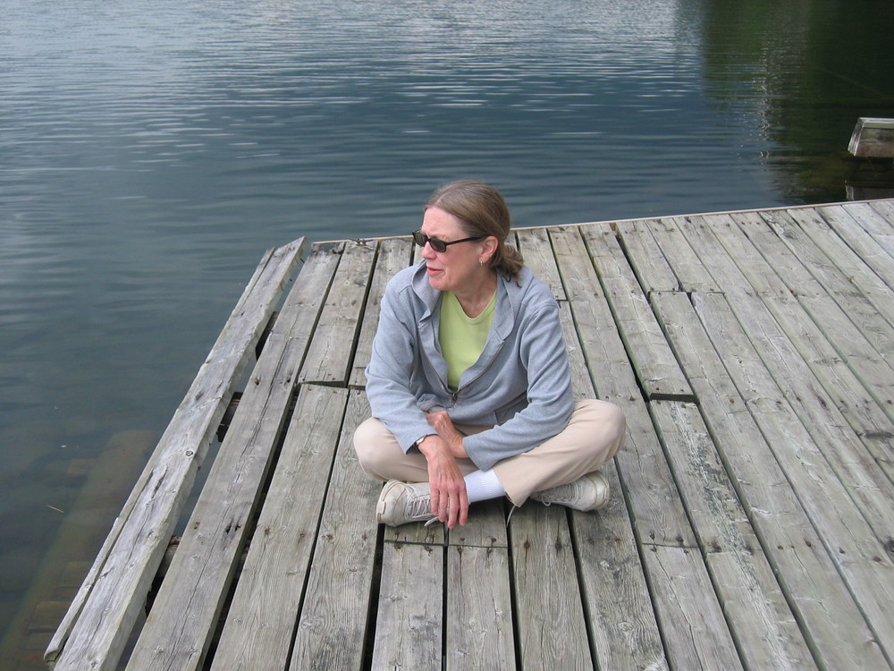 "Margaret on the dock at Lonely Lake, Canada, the camp which inspired her composition titled ""Lonely Lake"""