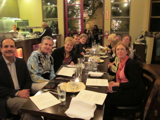 At dinner with Marin Alsop, pianist Jean-Yves Thibaudet, composer Behzad Ranjbaran, and Cabrillo Festival Orchestra musicians