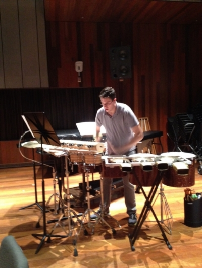 "Nathan von Trotha recording ""Shattered"" in Clonick Hall, Oberlin"