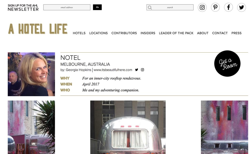 A Hotel Life   Notel   April 2017.