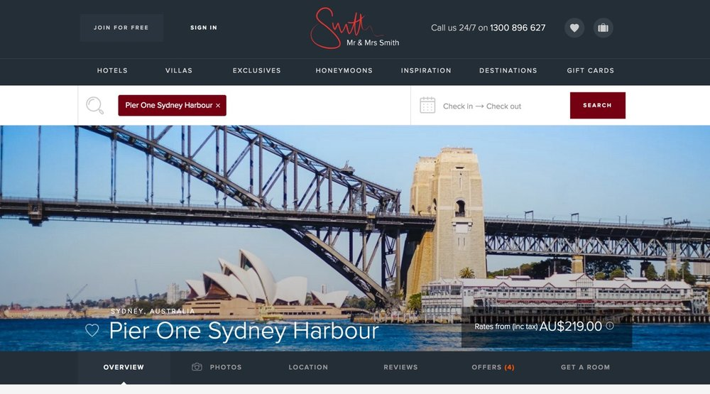 Smith Hotels |  Pier One Sydney Harbour Hotel Review  | January 2017.
