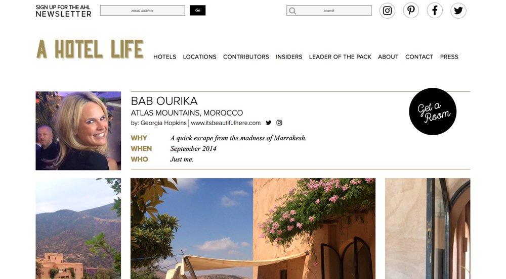 A Hotel Life |  Bab Ourika  | September 2014.