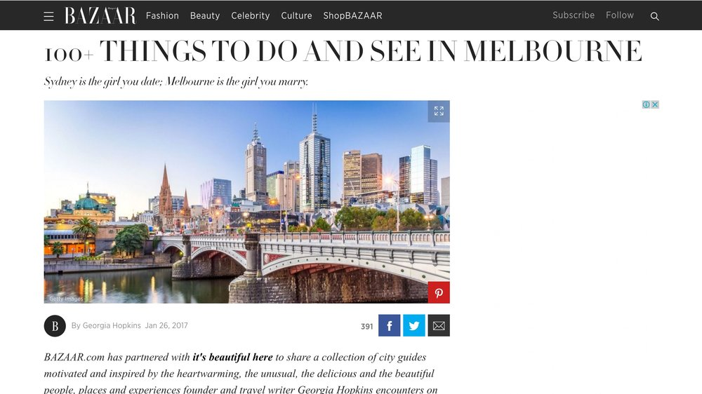 Harpers Bazaar US | 100+ Things to do and see in Melbourne | January 2017.