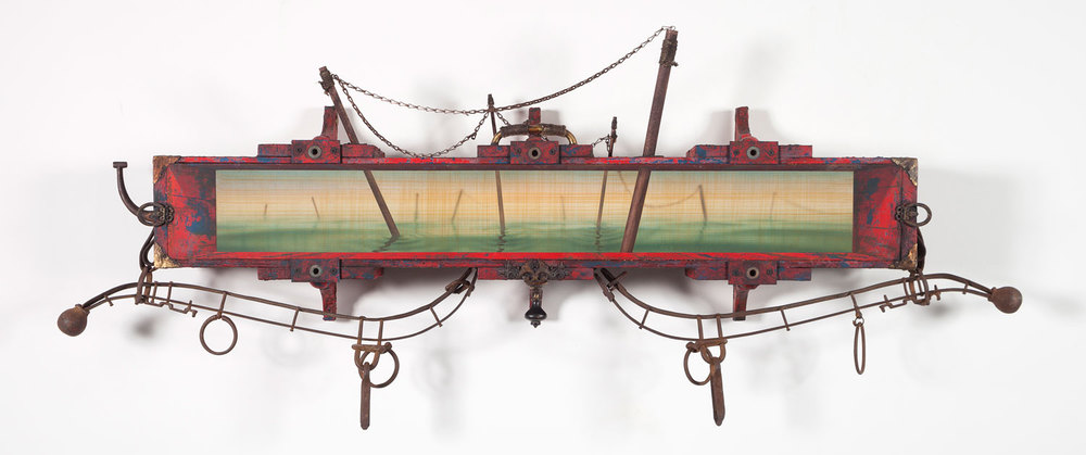 "Chained To The Future      by Jason Brammer, Acrylic, plaster, antique hardware, salvaged wood, recycled leather, wood, and metal, 2012, 26"" x 62"" x 6 ¼""."