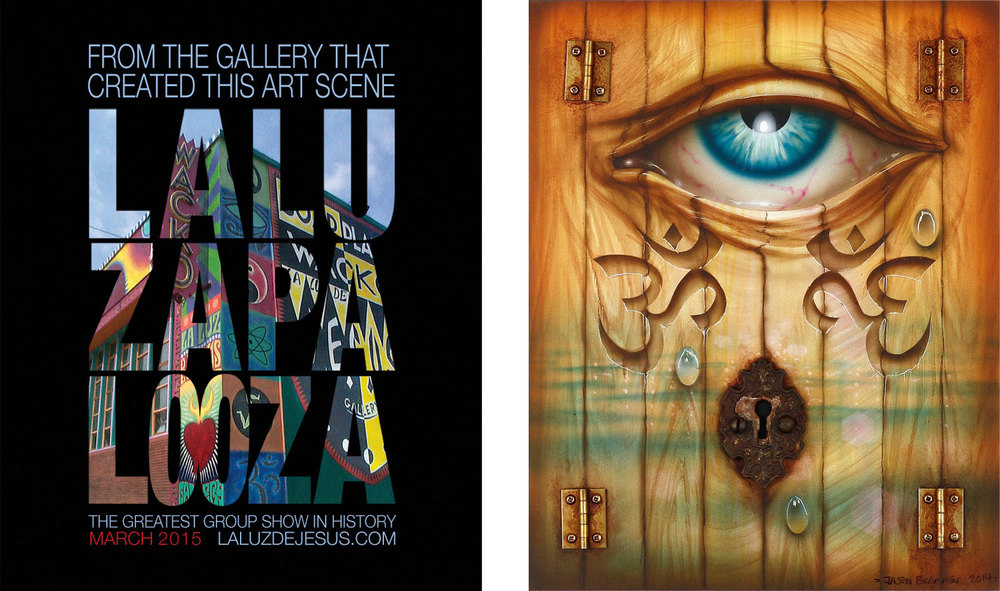 "Left: Official Laluzapalooza flyer  |  Right: Watching The Doors Of Perception by Jason Brammer, Acrylic, antique key plate, hinges, and panel, 2014, 10"" x 8"" x 1""."