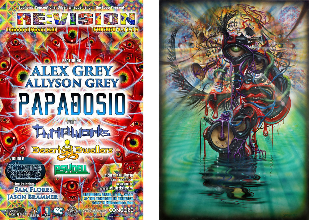 Left: Official RE:VISION flyer  |  Right: Sonic Swan Deity VI by Jason Brammer (his live painting from RE:VISION 2014).