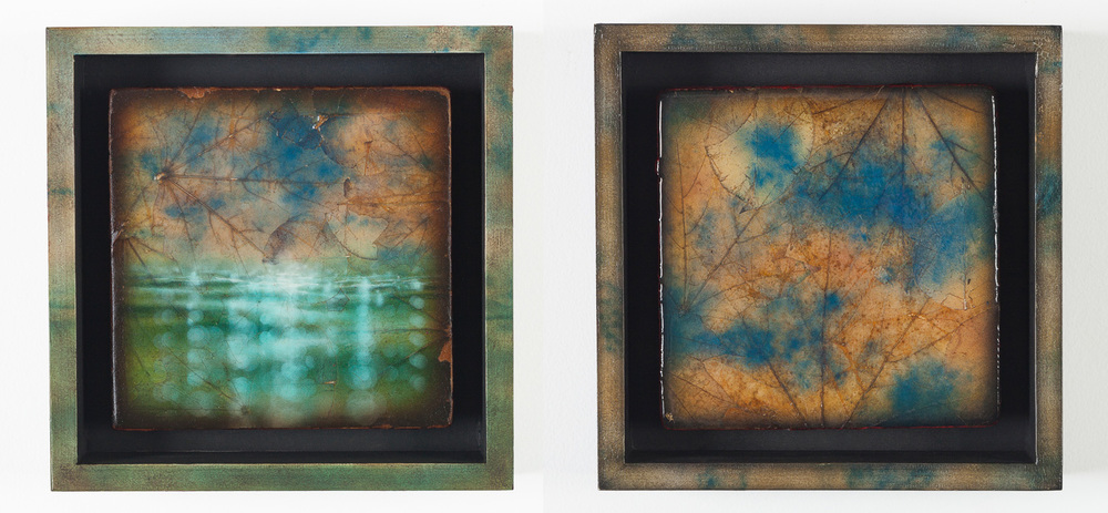 "Left: Interbeing: The Cloud Within The Leaf II, Acrylic, leaves, panel, and wood, 2013, 8"" x 8"" x 2"" 