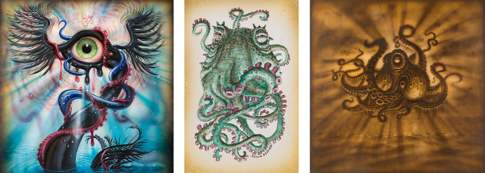 Left: Detail of Sonic Swan Deity VIII  |  Center: New octopus watercolor and ink drawing  |  Right: Remembering The Future X