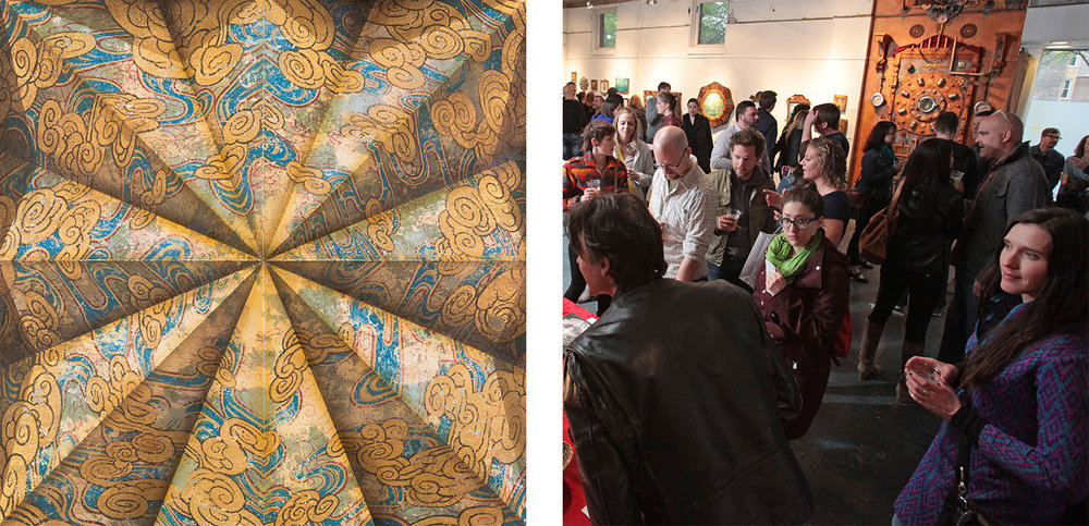Left:   Folding The Fibonacci   by Jason Brammer|  Right: Open Studio Party, May 2015