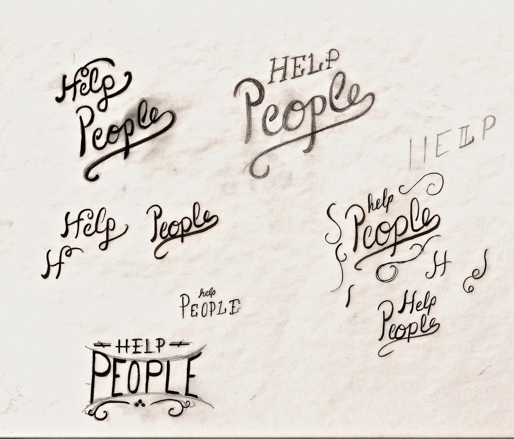 "A recent journal post about why TheWorley Co exists was called ""Help People"" and this was a bit of the concepting. I'll crank out about 8-15 initial designs to see how the feel is and what I'm hoping to communicate before going in a direction."
