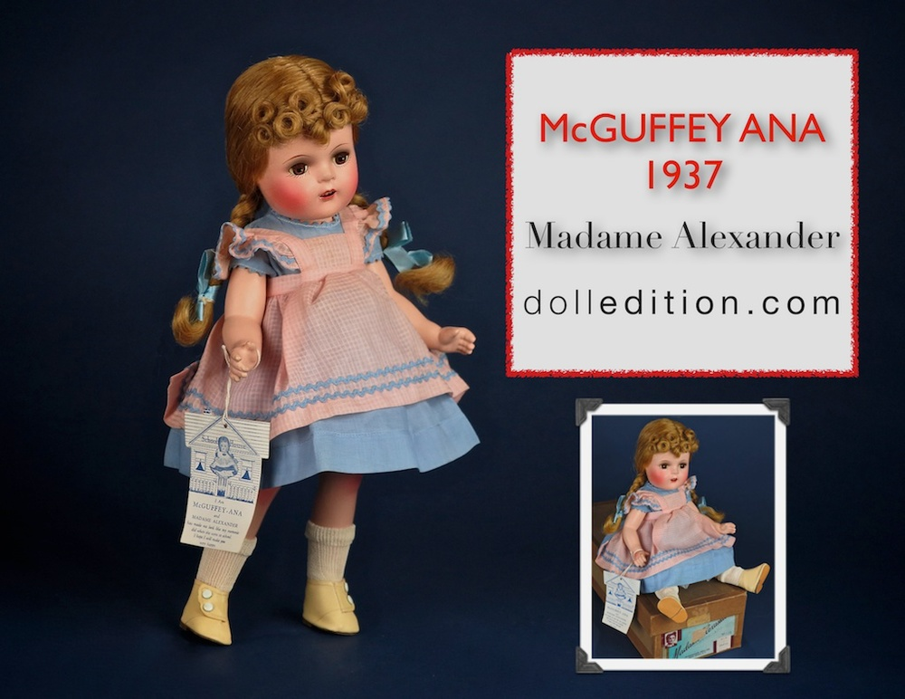 Mint in Box 1937 composition  McGuffey Ana with her School House hang tag - a beautiful collaboration with books and literature. The doll exhibits the progress of the still young company and it's mastering of composition finishes.