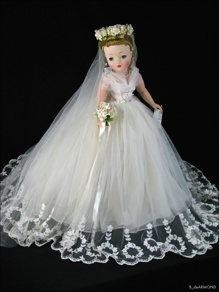 "Cissy 1958 No. 2280 Bride - the 21"" shadow to the same Elise Bride. These are a little impractical as dolls, but remarkable in their quality and detail."