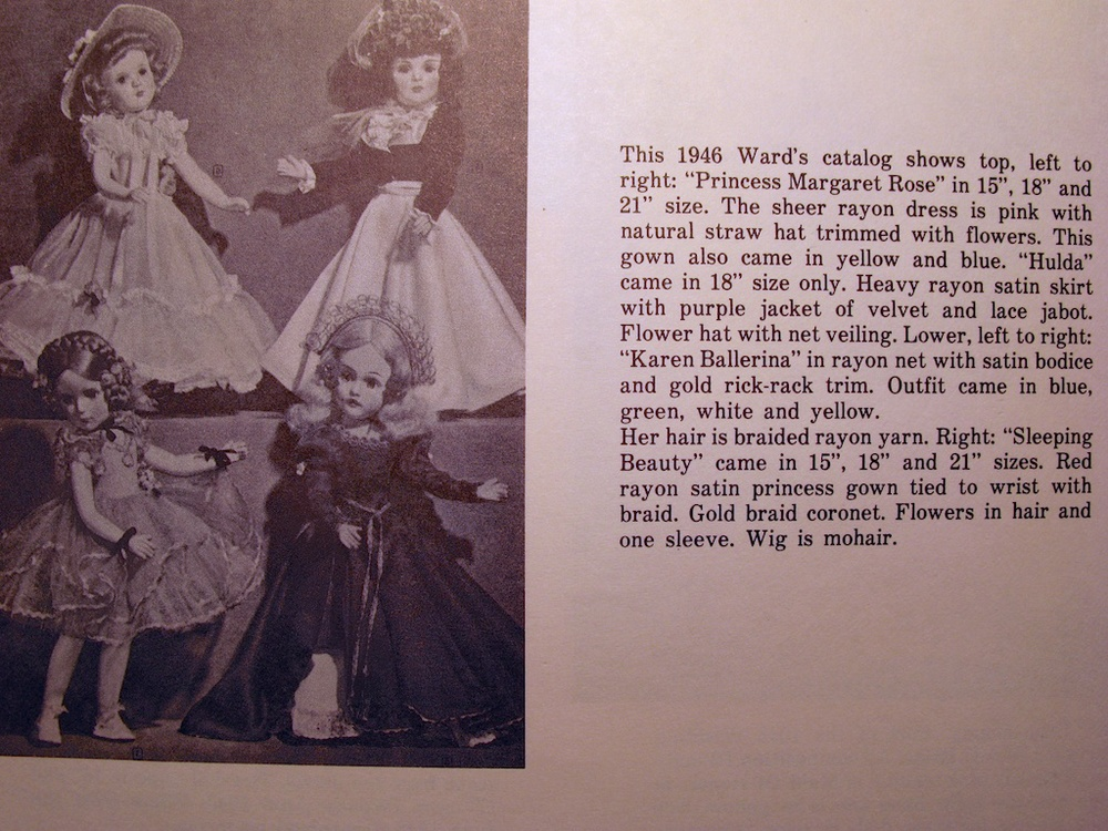 "21"" ""PRINCESS MARGARET ROSE"" for a 1946 Montgomery Wards catalog, available in pink, yellow and blue. Featured on the bottom left of the page is ""KAREN BALLERINA."" With tulle not yet developed, highlighted is the dolls rayon net available in blue, green, white and yellow."