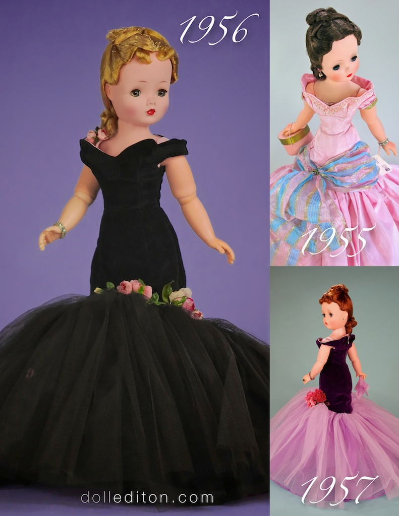 Left is Cissy in the 1956 No. 2046 dramatic black velvet and layers of black tulle accented with pink roses. Top right is Cissy in the extravagant 1955 No. 2100 mauve taffeta with metallic ribbon bow accent. Bottom right is the 1957 No. 2174 purple velvet with layers of lilac tulle - a beautiful cluster of roses accent the gowns flounce.