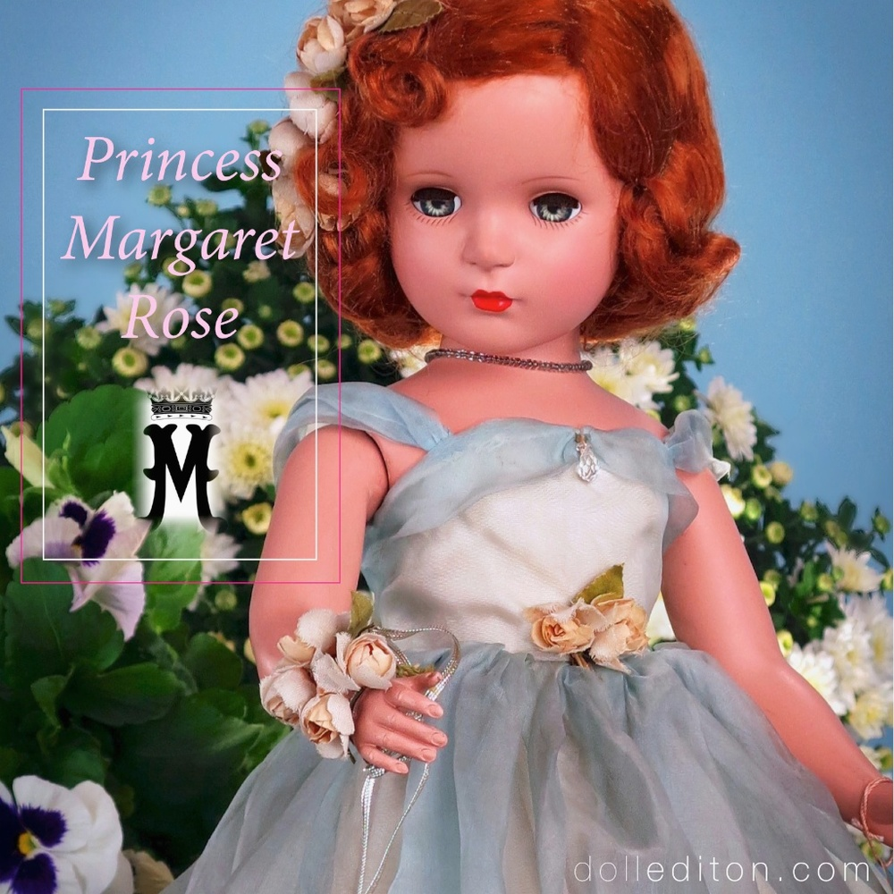 "Princess Margaret Rose 1950, 21"" early hard plastic, auburn wig, in blue organdy gown by the Alexander Doll Company."