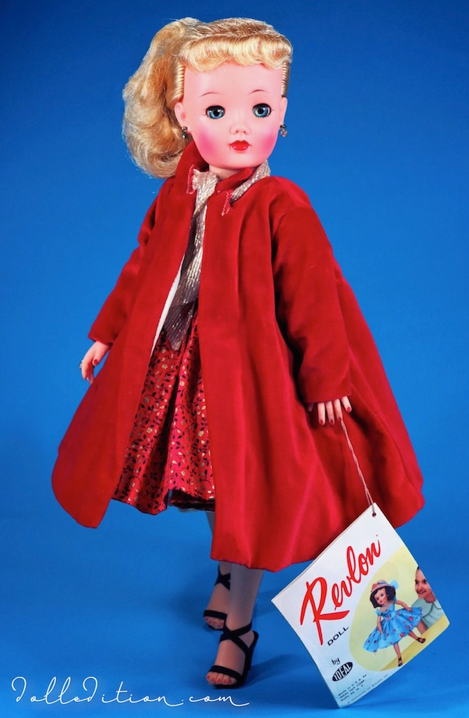 "20"" 1958  Queen of Hearts  in red velvet coat @$19.95 and featured the newer developed platinum blond rooted saran hair."