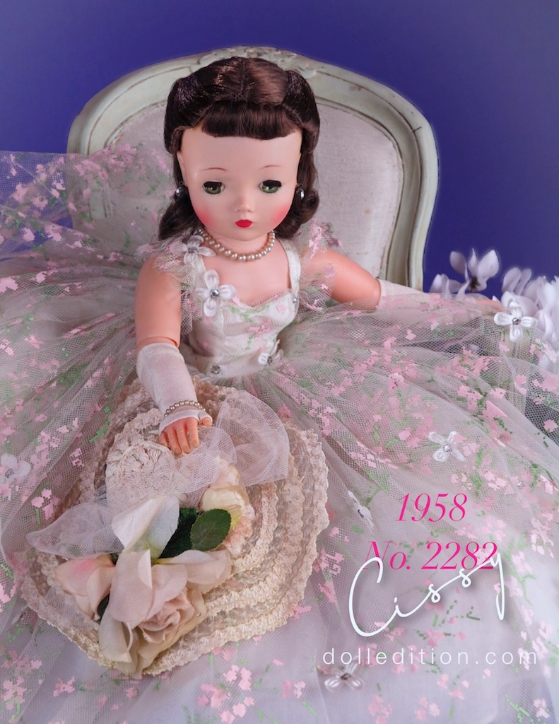 Cissy 1958 No. 2282 painted tulle gown and picture hat - one of the must stunning dolls created my Madame Alexader.
