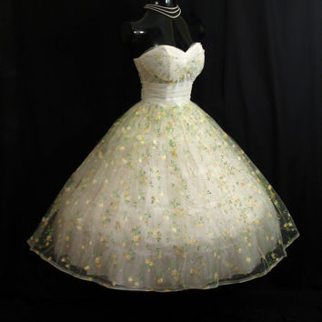1950s painted tulle gown with lemons.