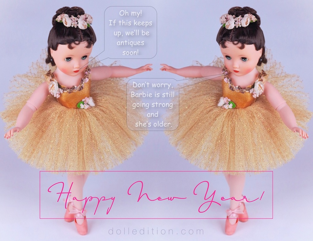 Celebrating the New Year with dolledition.com is a pas de deux with Elise in gold  - No. 1835 from 1961.