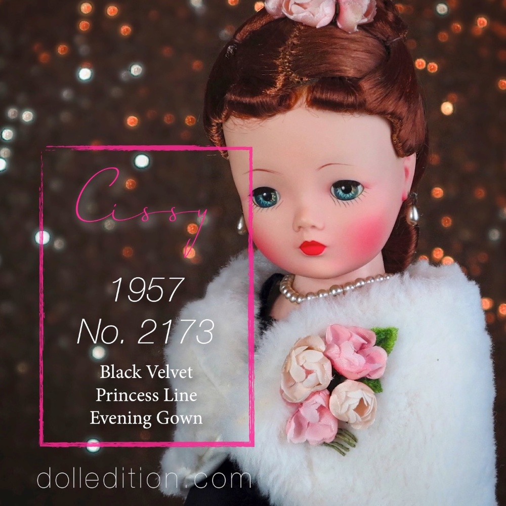 Cissy by the Alexander Doll Company No. 2173 black velvet princess line evening gown, black gloves and Orlon fur stole.