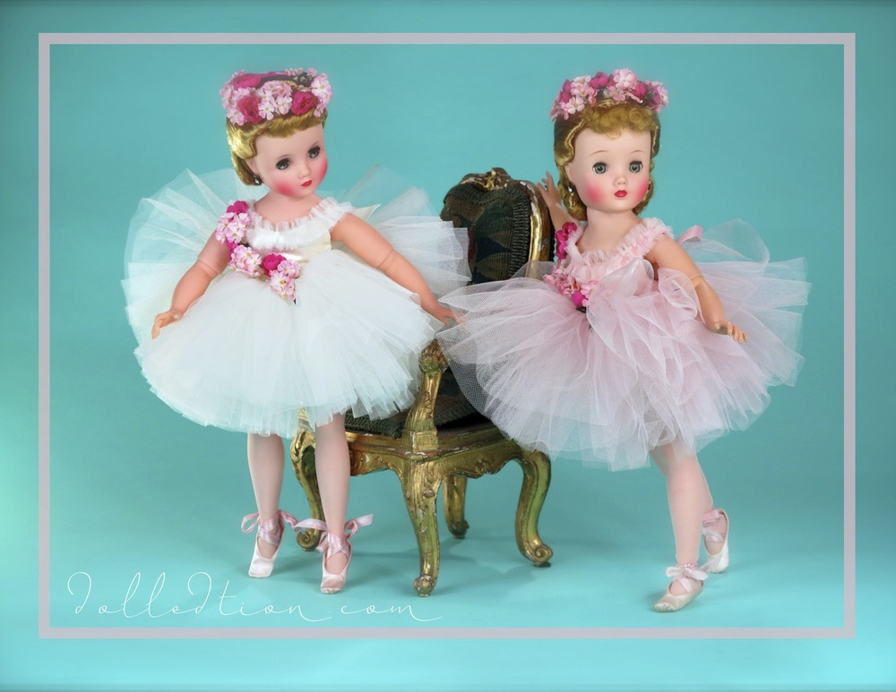 Elise 1958 Ballerina No. 1715 in both pink, and in white - both mint in box.