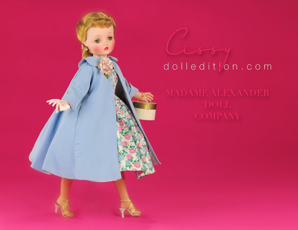 From FAO Schwarz, Cissy is wearing a blue cotton 1957 swing coat No. 23-12 with a peter pan collar, detailed with pockets and white taffeta lining. Although the corsage does match the flowers of one of the hats sometimes seen with this outfit, it may have been added to replace the roses usually seen with this coat.