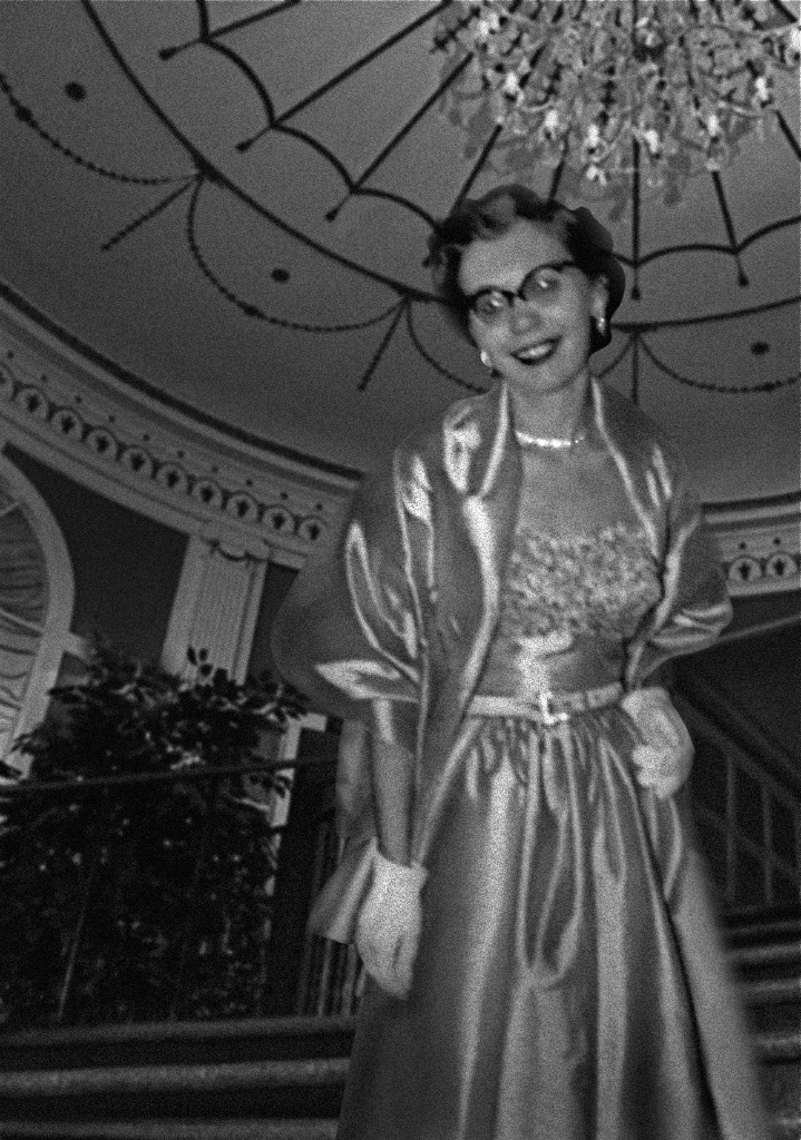 Mom at the Cavalier Hotel, c. 1955, ready for an evening of dancing, Virginia Beach, VA.