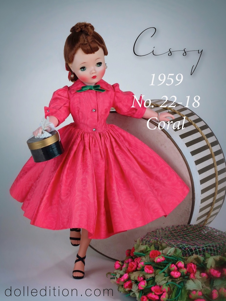 Cissy 1959 No. 22-18 cotton coral moiré print - this also came in teal. Shari Lewis also came dressed in this shirtmaker style dress and in both coral and teal.