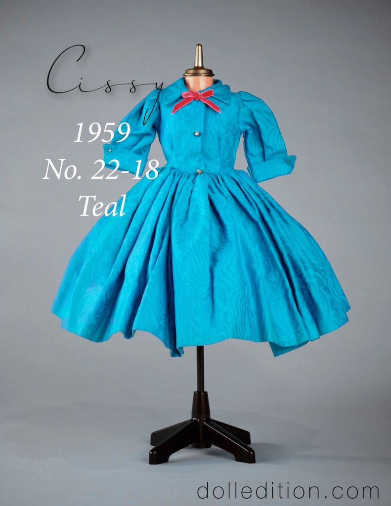 Cissy 1959 No. 22-18 cotton teal moiré print. This came as a boxed extra outfit with a tagged lace slip and undies.