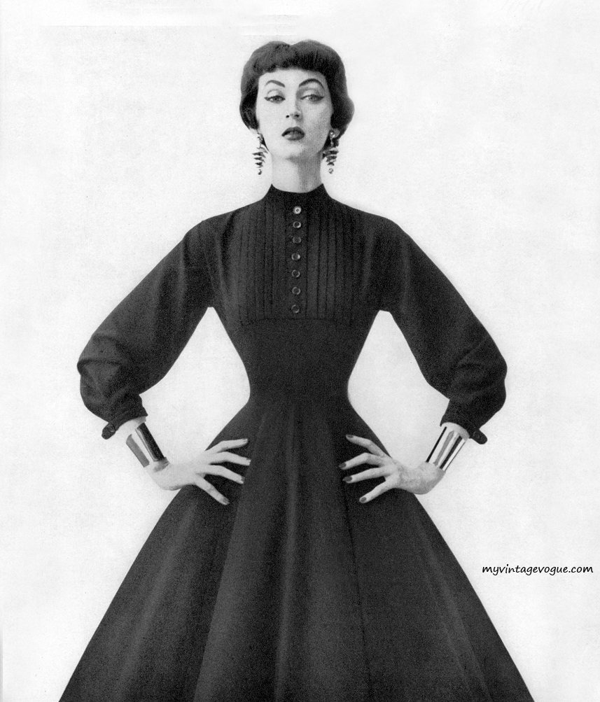 An example of the 1950s shirtwaist dress in cotton by American fashion designer  Ann Fogarty.