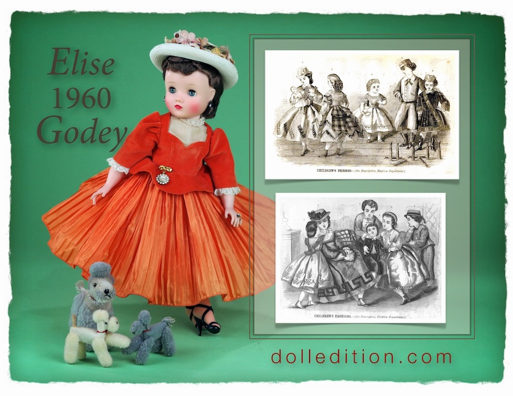 Elise sits for a few minutes while the poodles play. In Godey era fashions of about 1860 - a very full pleated skirt and fashionable straw hat of the period. Portrait dolls were trending with Madame Alexander. The tides of popularity were changing dramatically in an industry spinning from the introduction of Barbie.
