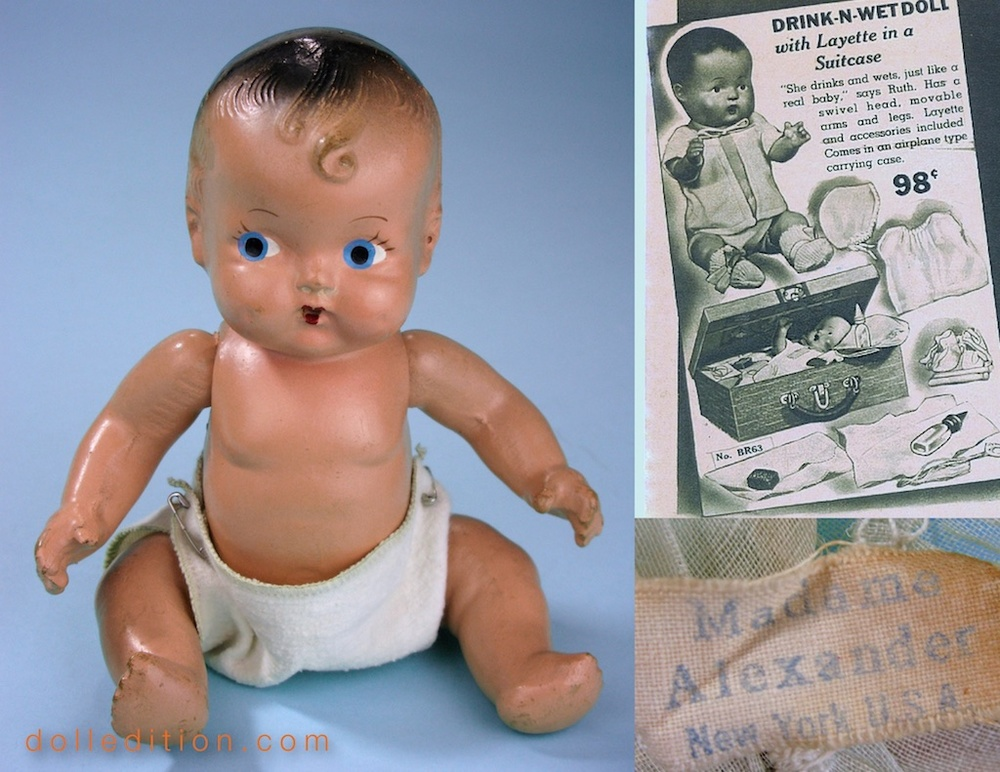 The DRINK-N-WET doll of this ad has a swivel head and comes with a layette in a suitcase. The wet feature of the Alexander doll has very interesting engineering. Bottom right shows the dolls very early Madame Alexander New York tag.