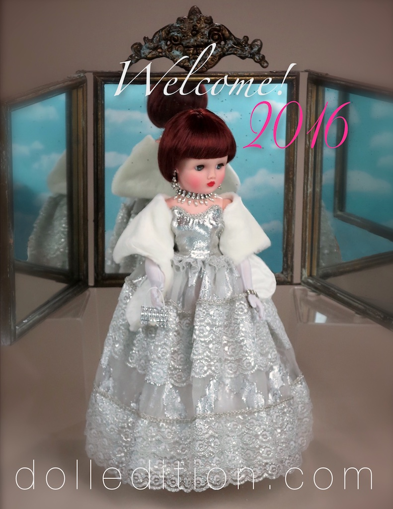 Cissy - from the    My Debutante    2016   wardrobe collection, celebrates 2016 . This   My Debutante    gown is in silver lace and organdy,a white faux fur shoulder wrap and some major jewlery pieces. Cissy appears to be looking into the future and towards the new experiences of bringing it all together... stay tuned, this could get interesting!