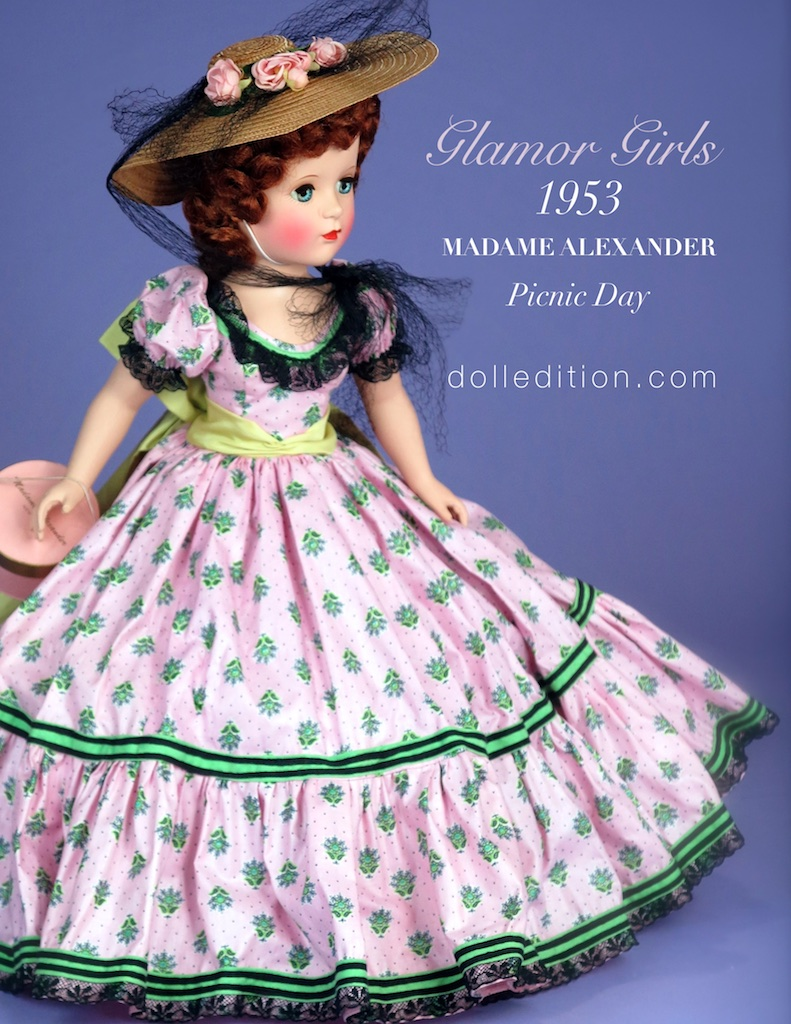 "From the 1953  Glamor Girls  - No, 2001C. Somewhere along the way, this doll obtained the nickname of ""Picnic Day"". An usually striking doll, with green leaves on strawberry pink and a wide green sash. Black val lace is used to trim the gown."